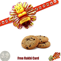 Pooh Rakhi with Chocolate Chip Cookies 2 Oz