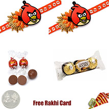 2 Angry Birds Rakhi Double Chocolate Pack – 2 oz each, Lindt, ferrero rocher