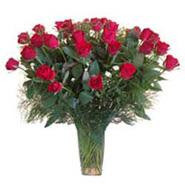 15 Red Roses in Glass Vase-SA