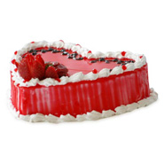 1kg Heart Shape Strawberry Eggless Cake