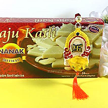 Kaju Katli with hanging diya