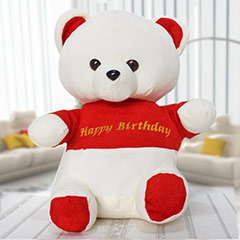 Red &  White Birthday Bear - 30 cm