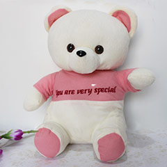 Cute Pink & White Bear - 35 cm