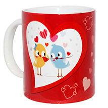 Red and White Heart Mug