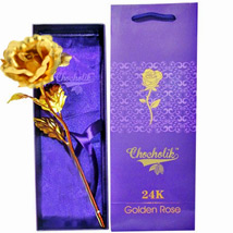 Golden Metal Rose in a Box