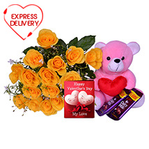 Yellow Roses with Chocolate Delights & Greeting Card