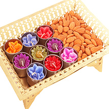 Golden Tray with T-lites and Almonds