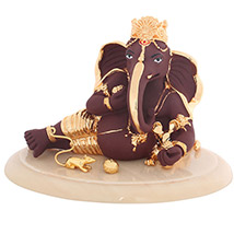 LM 6019 Brown and Gold Terracota Ganesha with Base
