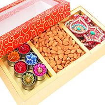 Orange Hamper Box with T-lites, Almonds and Rangoli