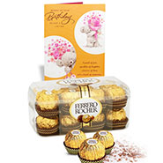 Delicious Box of 16 Pieces Ferrero Rocher with Special Birthday Card