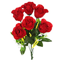 6 Artificial Red Roses