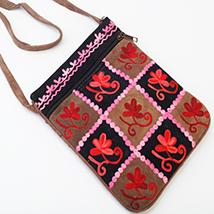 Kashmiri Checks Leather Sling Bag