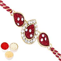 Rakhis Online - J-33063 Leaf Rose Jewel Rakhi with 200 gms of Kaju katli /></a></div><div class=