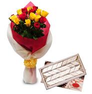 Roses with1kg  Kaju Katli