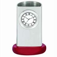 Silver Pen Holder Cum Clock - 265