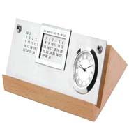Wooden Calender Cum Clock - 348