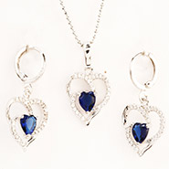 Blue Heart Pendant Set