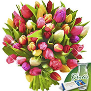 Tulips in a bunch with vase & Lindt Chocolate