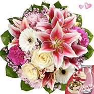 Bouquet with vase & Lindt chocolates reverie
