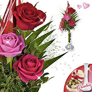 Rose Festival with vase & Lindt chocolates