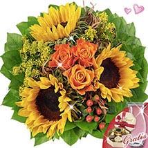 Bouquet Vincent with vase & Lindt chocolates