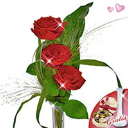 Serenade with vase & Lindt chocolates
