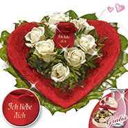 Rose Bouquet I love you with vase & Lindt chocolates