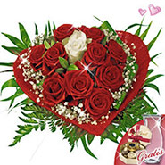 Rose Bouquet Romeo with vase & Lindt chocolates