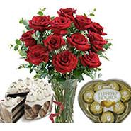 Roses in vase combo