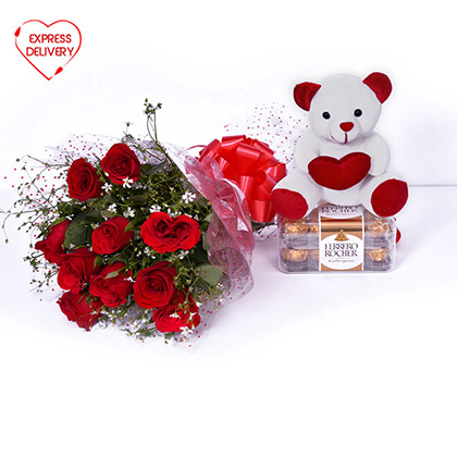 Roses with Chocolate & Teddy