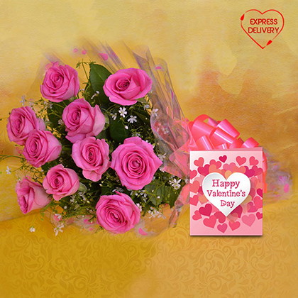 Charming Pink Blooms with Greeting Card
