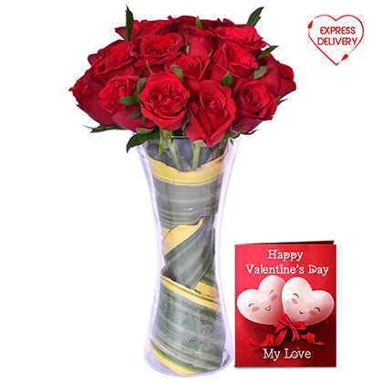 Passionate Red Blooms with Greeting Card